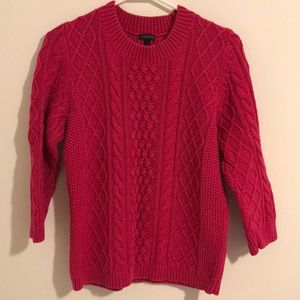 Talbots Chunky Cable Knit Pink Sweater Scoop Neck
